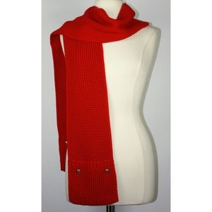 Michael Kors Red Cable Knit Scarf with Pockets